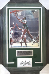 "Bill Russell Boston Celtics 27"" x 18"" Framed Display with 11"" x 14"" Photo and Signed Autographed Index Card Global COA"