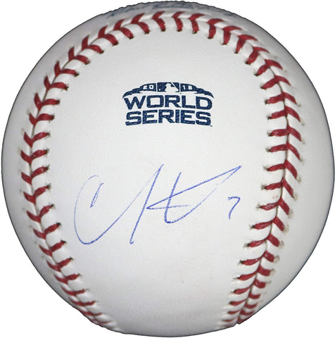 Christian Vazquez Boston Red Sox Signed Autographed Rawlings 2018 World Series Official Baseball JSA Witnessed COA with Display Holder