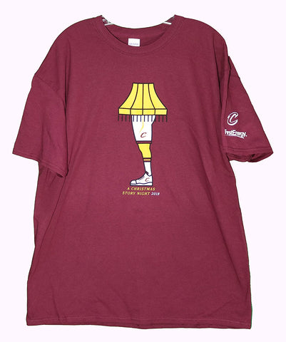 Cleveland Cavaliers Cavs A Christmas Story Night Wine Leg Lamp T-Shirt Promo SGA