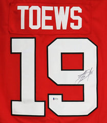 Jonathan Toews Chicago Blackhawks Signed Autographed Red #19 Jersey Beckett COA