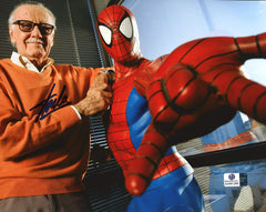 "Stan Lee Signed Autographed 8"" x 10"" Spiderman Photo Global COA"