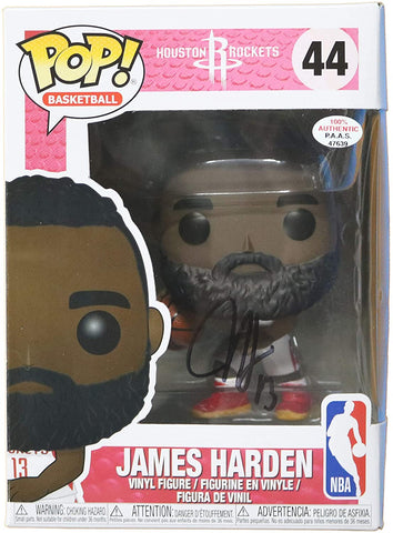 James Harden Houston Rockets Signed Autographed NBA FUNKO POP #44 Vinyl Figure PAAS COA - DAMAGED