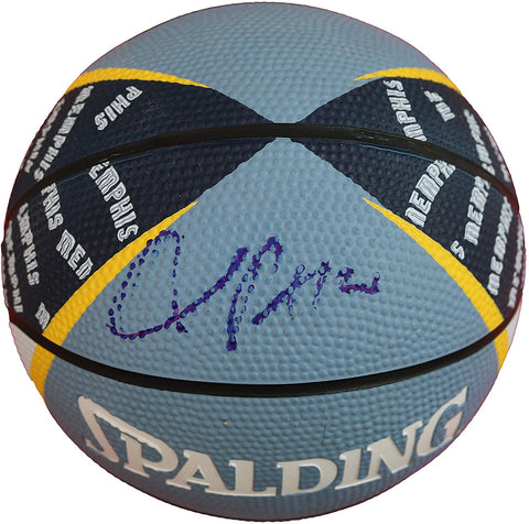 Chandler Parsons Memphis Grizzlies Signed Autographed Spalding Grizzlies Logo Mini Basketball Witnessed COA