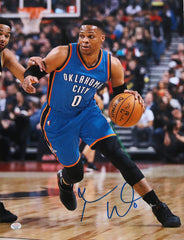 "Russell Westbrook Oklahoma City Thunder Signed Autographed 11"" x 14"" Dribbling Photo PAAS COA"