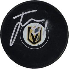 Jonathan Marchessault Vegas Golden Knights Signed Autographed Golden Knights Logo NHL Hockey Puck Global COA with Display Holder