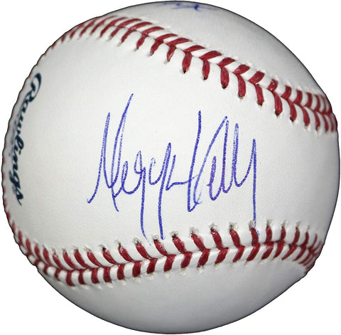 Megyn Kelly and Bret Baier Fox News Signed Autographed Rawlings Official Major League Baseball LSC COA with Display Holder