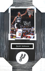 "David Robinson San Antonio Spurs Signed Autographed 22"" x 14"" Framed Dunk Photo"