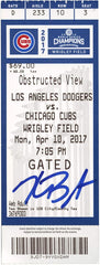 Kris Bryant Chicago Cubs Signed Autographed Game Ticket Global COA