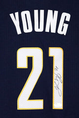 Thaddeus Young Indiana Pacers Signed Autographed Blue #21 Jersey JSA COA