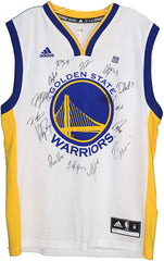 Golden State Warriors 2017-18 Team Autographed Signed White Jersey Durant Curry Thompson Green PAAS LOA COA