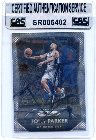 Tony Parker San Antonio Spurs Signed Autographed 2015-16 Panini Prizm #61 Basketball Card CAS Certified