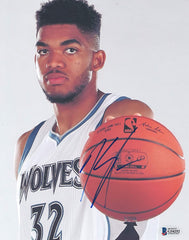 "Karl-Anthony Towns Minnesota Timberwolves Signed Autographed 8"" x 10"" Photo Beckett COA"