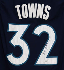 Karl-Anthony Towns Minnesota Timberwolves Signed Autographed Dark Blue #32 Jersey JSA COA