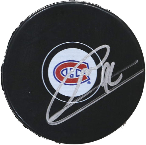 Jonathan Drouin Montreal Canadiens Signed Autographed Canadiens Logo NHL Hockey Puck Global COA with Display Holder