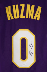 Kyle Kuzma Los Angeles Lakers Signed Autographed Purple #0 Custom Jersey JSA Witnessed COA Sticker Hologram Only