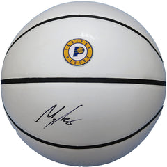 Myles Turner Indiana Pacers Signed Autographed White Panel Basketball JSA COA