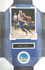 "Stephen Curry Golden State Warriors Signed Autographed 22"" x 14"" Framed Dribbling Photo Pinpoint COA"