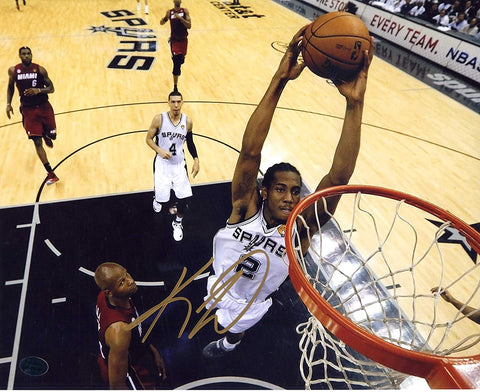 "Kawhi Leonard San Antonio Spurs Signed Autographed 8"" x 10"" Two Hand Dunk Photo PAAS COA"