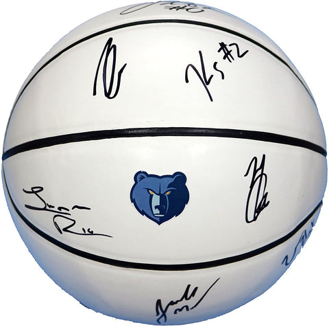 Memphis Grizzlies 2017-18 Team Autographed Signed White Panel Basketball Gasol Green