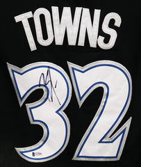Karl-Anthony Towns Minnesota Timberwolves Signed Autographed Black Throwback #32 Jersey Beckett COA