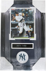 "Aaron Judge New York Yankees Signed Autographed 22"" x 14"" Framed Hitting Photo PP COA"