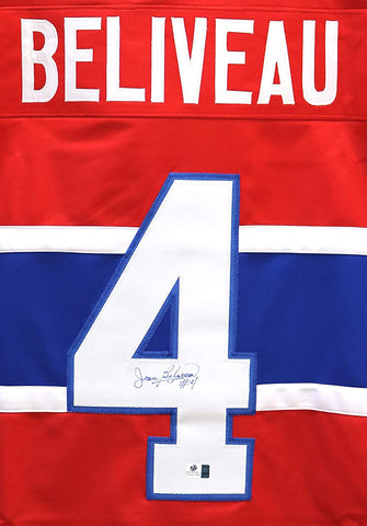 Jean Beliveau Montreal Canadiens Signed Autographed Red #4 Custom Jersey Global COA