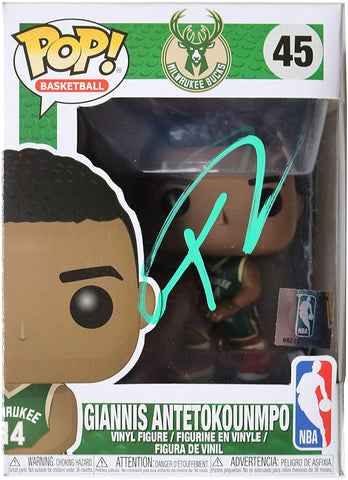 Giannis Antetokounmpo Milwaukee Bucks Signed Autographed FUNKO POP #45 Vinyl Figure Global COA
