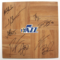 Utah Jazz 2013-14 Team Signed Autographed Basketball Floorboard