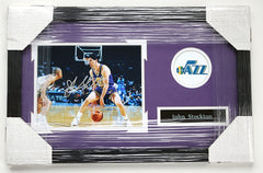 "John Stockton Utah Jazz Signed Autographed 22"" x 14"" Framed Dribbling Photo"