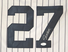 Giancarlo Stanton New York Yankees Signed Autographed White Pinstripe #27 Jersey JSA LOA COA