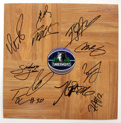 Minnesota Timberwolves 2014-15 Team Autographed Signed Basketball Floorboard Round Logo