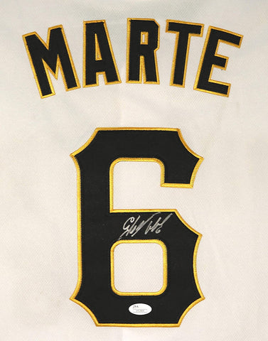 Starling Marte Pittsburgh Pirates Signed Autographed White #6 Jersey JSA COA