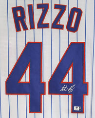 Anthony Rizzo Chicago Cubs Signed Autographed White Pinstripe #44 Jersey Global COA