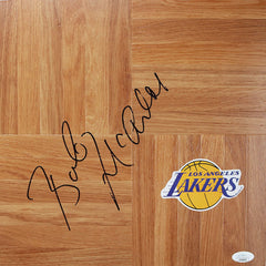 Bob McAdoo Los Angeles Lakers Signed Autographed Basketball Floorboard JSA COA