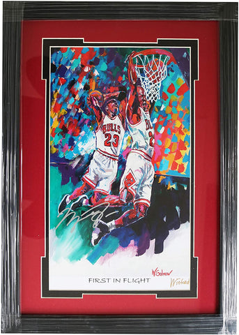 "Michael Jordan Chicago Bulls Hand Signed Autographed 21-1/8"" x 15"" Framed Winford Lithograph PP COA"