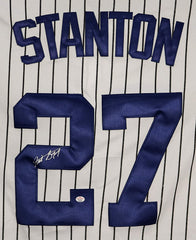 Giancarlo Stanton New York Yankees Signed Autographed White Pinstripe #27 Jersey PAAS COA