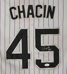 Jhoulys Chacin Colorado Rockies Signed Autographed White Pinstripe #45 Jersey JSA COA