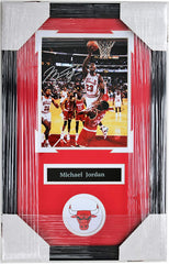 "Michael Jordan Chicago Bulls Signed Autographed 22"" x 14"" Framed Lay-Up Photo AI COA"