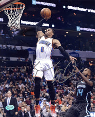 "Russell Westbrook Oklahoma City Thunder Signed Autographed 8"" x 10"" One Hand Dunk Photo PP COA"
