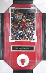 "Michael Jordan Chicago Bulls Signed Autographed 22"" x 14"" Framed Dunk Contest Photo PP COA"