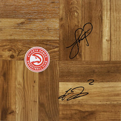 Treveon Graham and Lloyd Pierce Atlanta Hawks Signed Autographed Basketball Floorboard