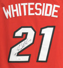 Hassan Whiteside Miami Heat Signed Autographed Red #21 Jersey JSA COA