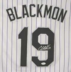 Charlie Blackmon Colorado Rockies Signed Autographed White Pinstripe #19 Jersey JSA COA