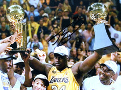 "Shaquille O'Neal Los Angeles Lakers Signed Autographed 11"" x 14"" Championship Trophy Photo PAAS COA"