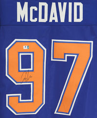 Connor McDavid Edmonton Oilers Signed Autographed Blue #97 Custom Jersey Global COA