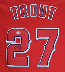 Mike Trout Los Angeles Angels Signed Autographed Red #27 Jersey Global COA