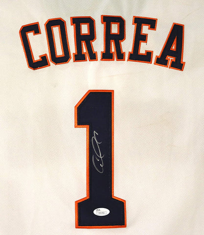 Carlos Correa Houston Astros Signed Autographed White #1 Jersey JSA COA