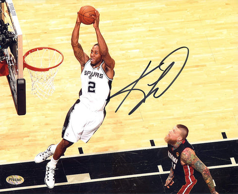 "Kawhi Leonard San Antonio Spurs Signed Autographed 8"" x 10"" Two Handed Dunk Photo AI COA"