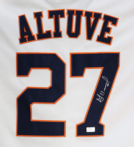 Jose Altuve Houston Astros Signed Autographed White #27 Jersey Global COA
