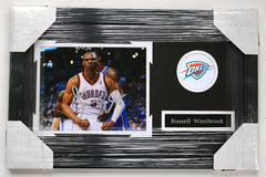 "Russell Westbrook Oklahoma City Thunder Signed Autographed 22"" x 14"" Framed Photo Pinpoint COA"
